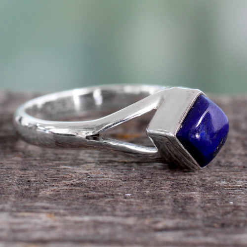 Artisan Crafted India Unisex Silver Ring with Lapis Lazuli 'Regal Blue'