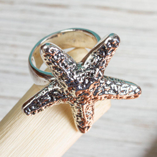 Taxco Artisan Crafted Sterling Silver Ring with Starfish 'Starfish Friendship'