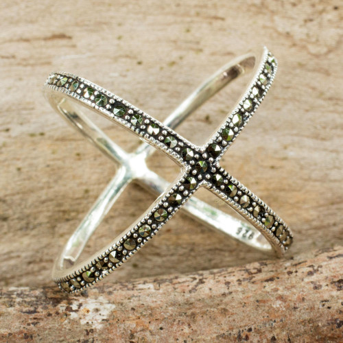 Original Thai Ring Hand Crafted with Silver and Marcasite 'Siam Atom'