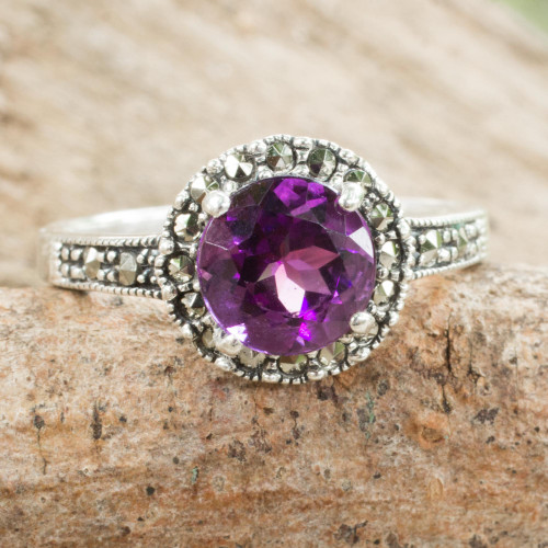 Amethyst and Marcasite Sterling Silver Ring Artisan Jewelry 'Contemporary Belle'