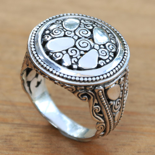 Contemporary Design Sterling Silver Cocktail Ring from Bali 'River Stones'