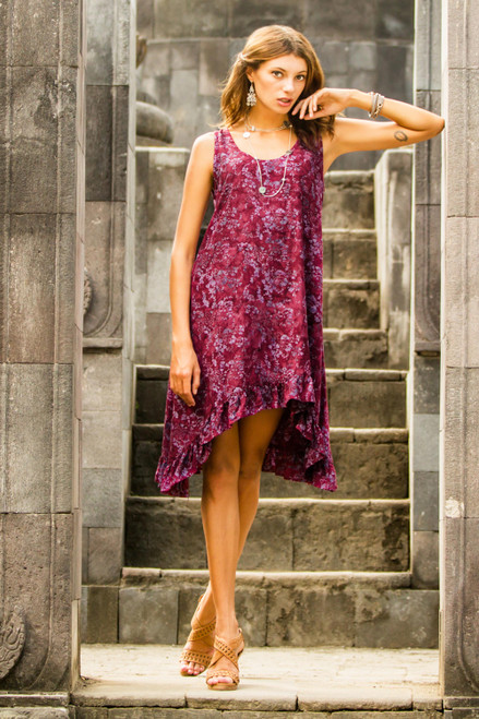 Batik Printed Maroon and Pink Flowers on Rayon Sundress 'Wine Floral'