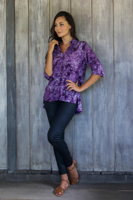 Hand Stamped Purple Floral Batik Rayon Shirt for Women 'Purple Lily'