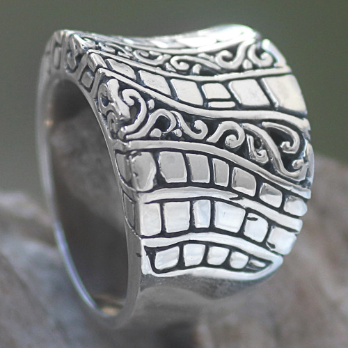 Hand Crafted Engraved Sterling Silver Band Ring from Bali 'Banana Tree Bark'