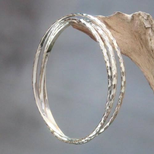 Balinese Women's Sterling Silver Bangle Bracelets set of 3 'Sterling Circles'