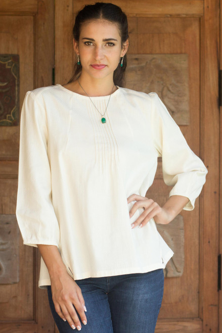 Cotton Blouse in Cream Color Round Neck and Long Sleeves 'Cream Thai Style'