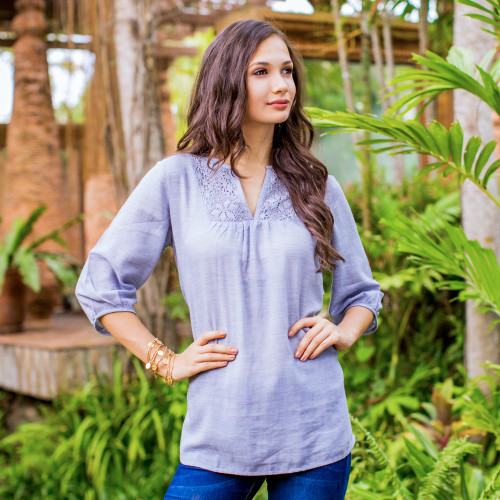 Blue Semi Sheer Cotton Tunic with Floral Lace Details 'Poinsettia Blue'