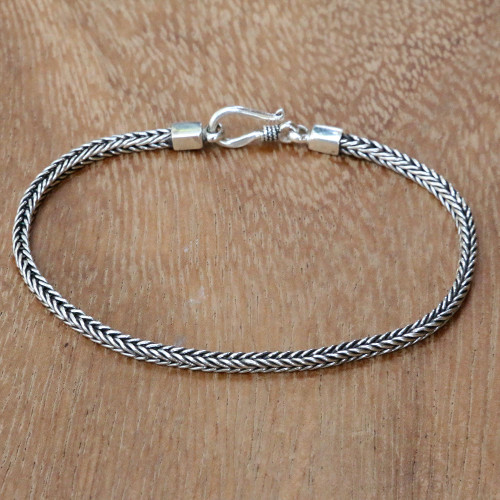 Hand Crafted Sterling Silver Chain Bracelet from Bali 'Dragon's Tail'