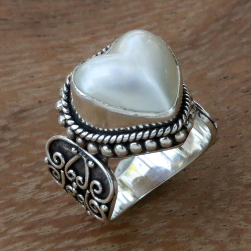 Ornate Cocktail Ring with Heart Shaped White Mabe Pearl 'Romance in White'