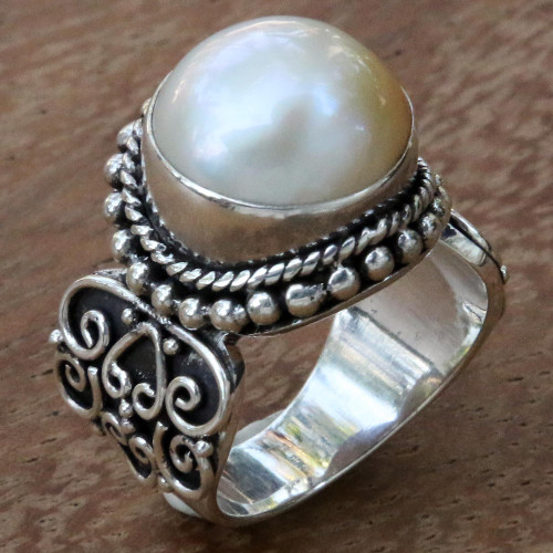 White Mabe Pearl Cocktail Ring in Sterling Silver Setting 'Purely White'