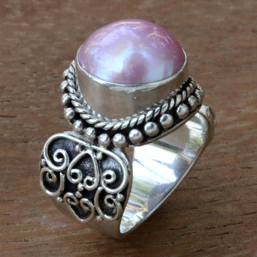 Artisan Crafted Pink Mabe Pearl Cocktail Ring from Bali 'Purely Pink'