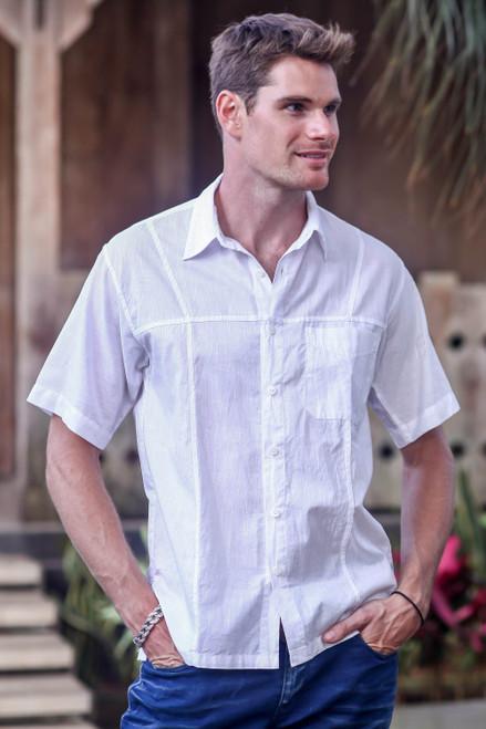 Men's White Short Sleeved Cotton Shirt from Bali 'Denpasar White'