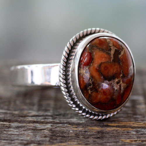 Orange Composite Turquoise Silver Ring from India 'Sunset Sky in Jaipur'