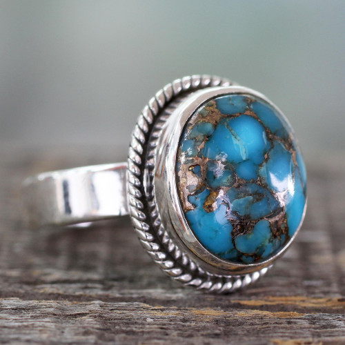 Silver Silver and Blue Composite Turquoise Ring from India 'Blue Sky in Jaipur'