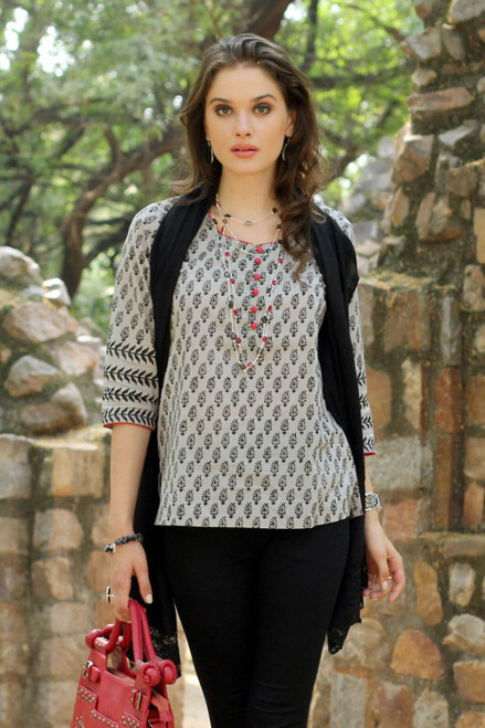Grey and Black Cotton Paisley Tunic with Pink Accents 'Paisley Dance'