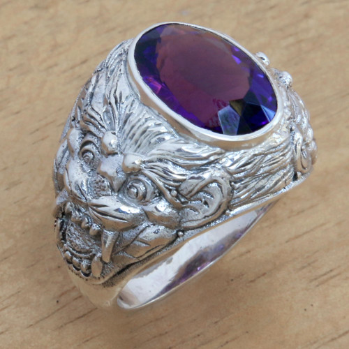 Barong Theme Men's Sterling Silver and Amethyst Ring 'Benevolent Barong'