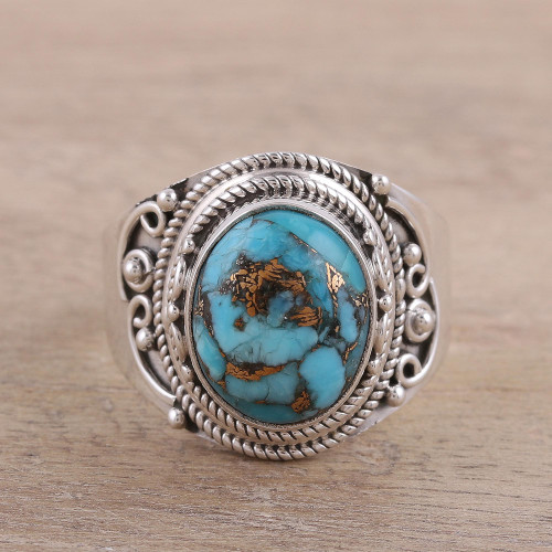 Sterling Silver Blue Composite Turquoise Cocktail Ring 'Golden Blue Delight'