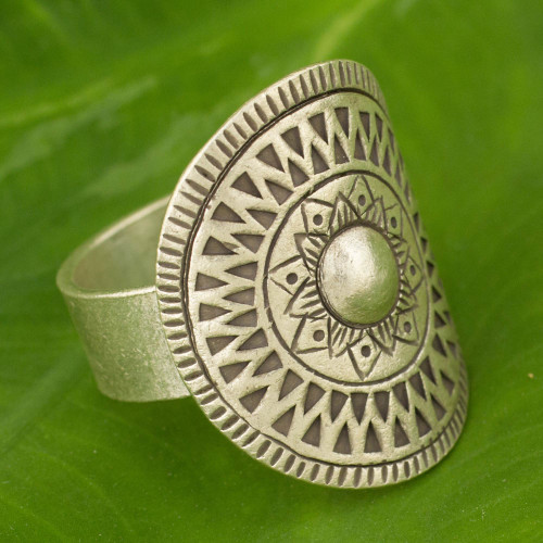 Hand Crafted Silver Cocktail Ring from Thailand 'Karen Blossoming'
