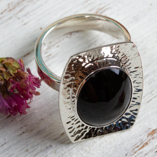 Womens Obsidian and 950 Silver Cocktail Ring from Mexico 'Mysterious Abyss'