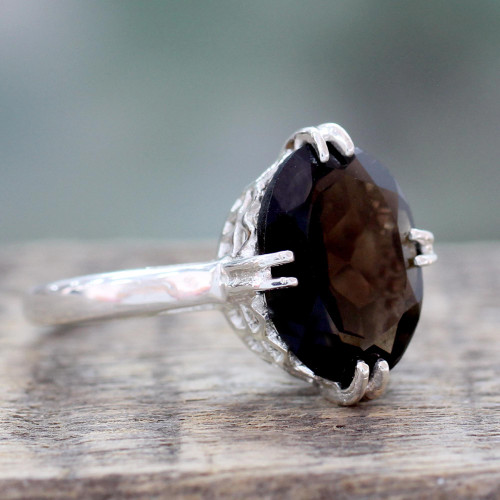 Sterling Silver and 4.5 Carat Smoky Quartz Solitaire Ring 'Enchanting Mystique'