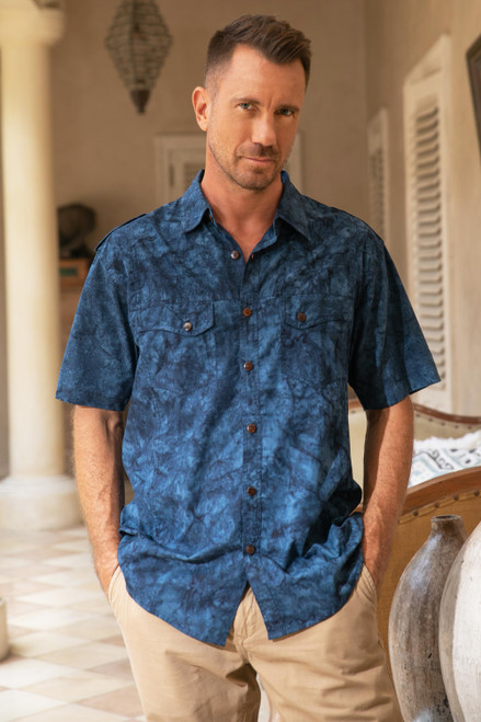Men's Military Style Blue Cotton Shirt with Short Sleeves 'Military Blue'