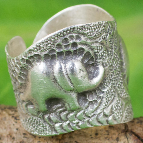 Artisan Crafted 950 Silver Ring with Elephants from Thailand 'Thai Couple'