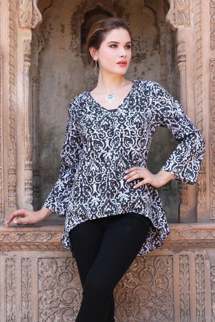 Black and White Abstract Screen Printed Cotton Tunic 'Monochrome Beauty'