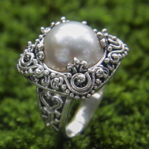 Modern Balinese Cultured Pearl Ring in Sterling Silver 'Spirit of the Moon'