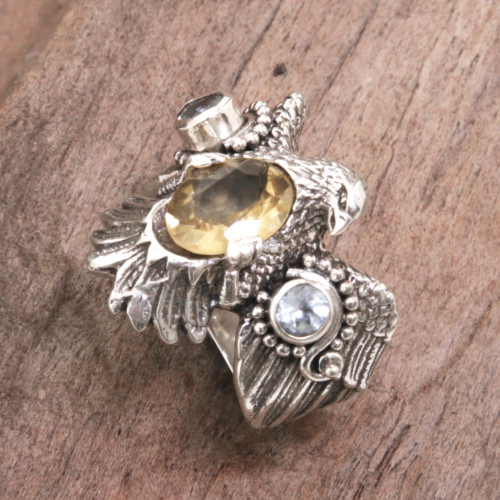 Sterling Silver Eagle Theme Ring with Citrine and Blue Topaz 'Golden Eagle'