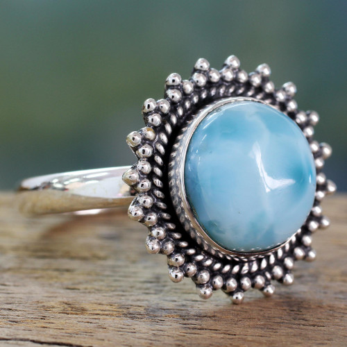 Classic Larimar Cocktail Ring in Sterling Silver Bezel 'Sea and Sky'