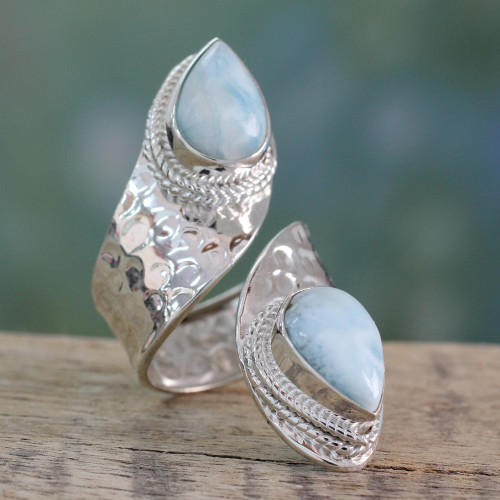 Wrap Style Ring in Sterling Silver with Larimar Gems 'Dreamy Duo'