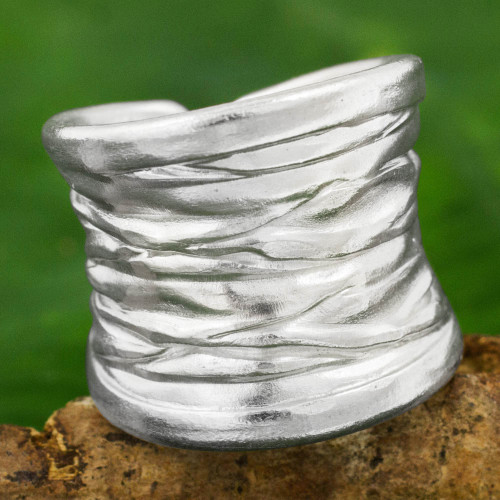 Wide Textured Silver Band Ring Crafted in Thailand 'Forest Bark'