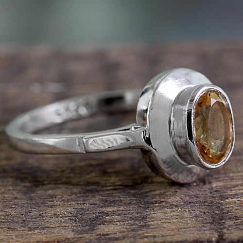 Indian Artisan Crafted Citrine Solitaire Ring in Silver 925 'Sunshine Halo'