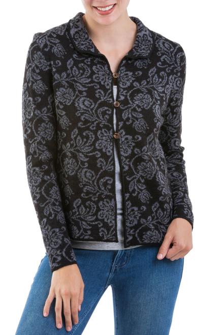Artisan Crafted Alpaca Blend Cardigan with Floral Motif 'Florencia'