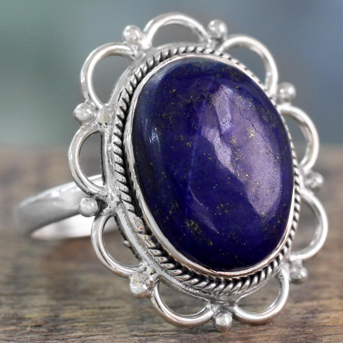 Lapis Lazuli Floral Cocktail Ring in 925 Sterling Silver 'Floral Jaipur'