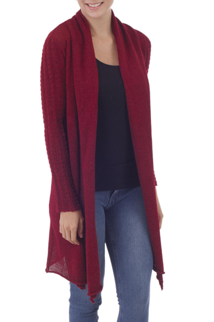 Artisan Crafted 100 Baby Alpaca Red Cardigan Duster 'Cranberry Red'