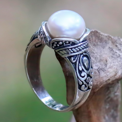 Balinese Sterling Silver and Cultured Pearl Women's Ring 'Luminous White Blossom'