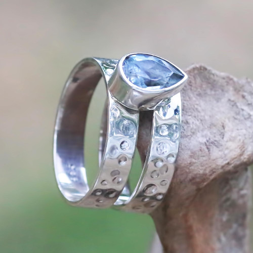 Artisan Crafted Blue Topaz and Sterling Silver Cocktail Ring 'Blue Drop'