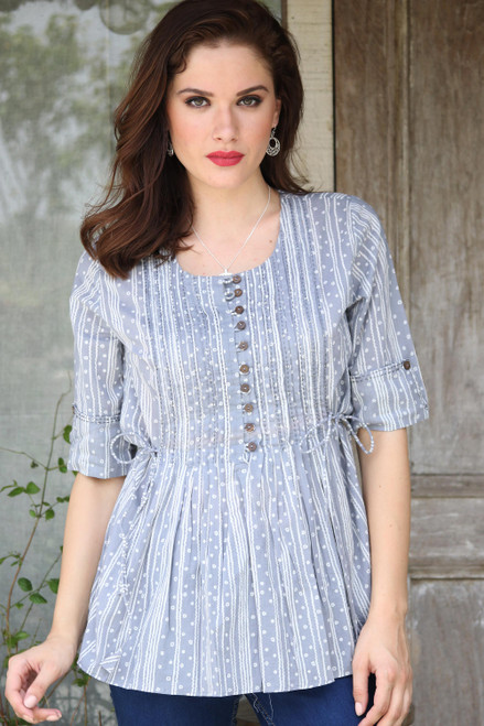 Artisan Crafted 100 Cotton Blouse in Grey and White 'Dancing Bubbles in Grey'