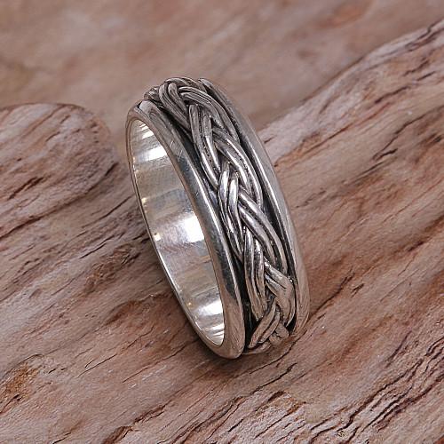 Hand Made Sterling Silver Spinner Meditation Ring from Bali 'Eternal Bond'