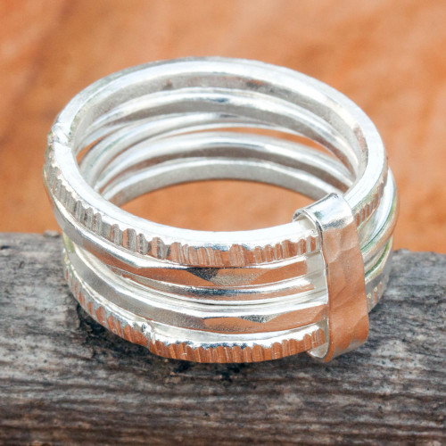 Five Linked Hand Crafted Hill Tribe Silver Band Rings 'Karen Quintet'