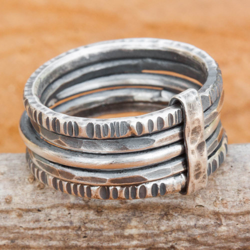 Hand Crafted Hill Tribe Dark Silver Five Linked Band Rings 'Dark Karen Quintet'