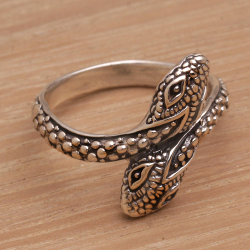 Hand Made Sterling Silver Snake Wrap Ring from Indonesia 'Infinity Snakes'