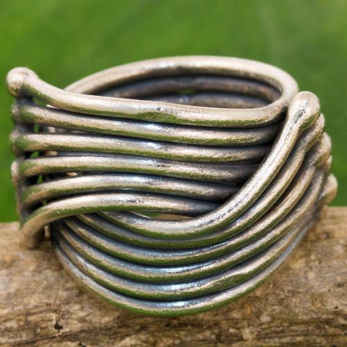Hand Made Karen Sterling Silver Ring from Thailand 'Sterling Hug'