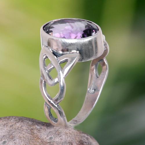 Amethyst Sterling Silver Ring Handmade in Indonesia 'Lavender Moon'
