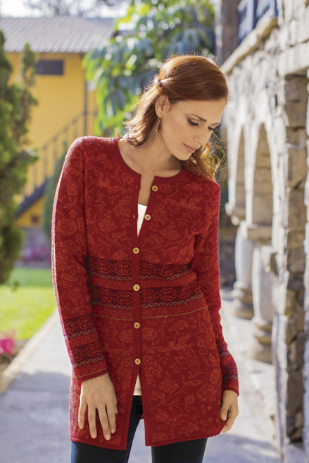 100 Baby Alpaca Cardigan in Cherry Red Floral from Peru 'Cherry Romance'