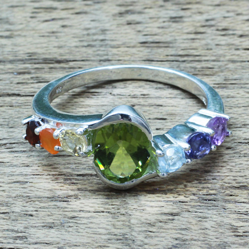 Hand Crafted Multi-Gemstone Cocktail Ring from India 'Chakra Allure'