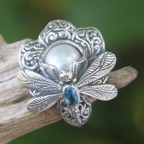 Cultured Pearl Cocktail Ring Dragonfly from Indonesia 'Rafflesia Flower'