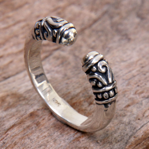 Hand Made Sterling Silver Wrap Ring from Indonesia 'Twin Buds'