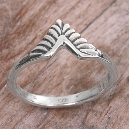 Hand Made Sterling Silver Band Ring from Indonesia 'Dove Wing'
